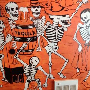 Wall art inside Rocco's Tacos Brooklyn