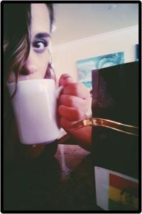 me drinking coffee