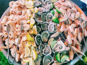 Shrimp, oysters and crab claws