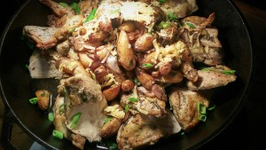Oven Roasted Airline Chicken with fingerling potatoes, balsamic, onion, smoked gouda