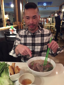 Lincoln points to The Pho with purpose. He is preparing for his slurping journey.