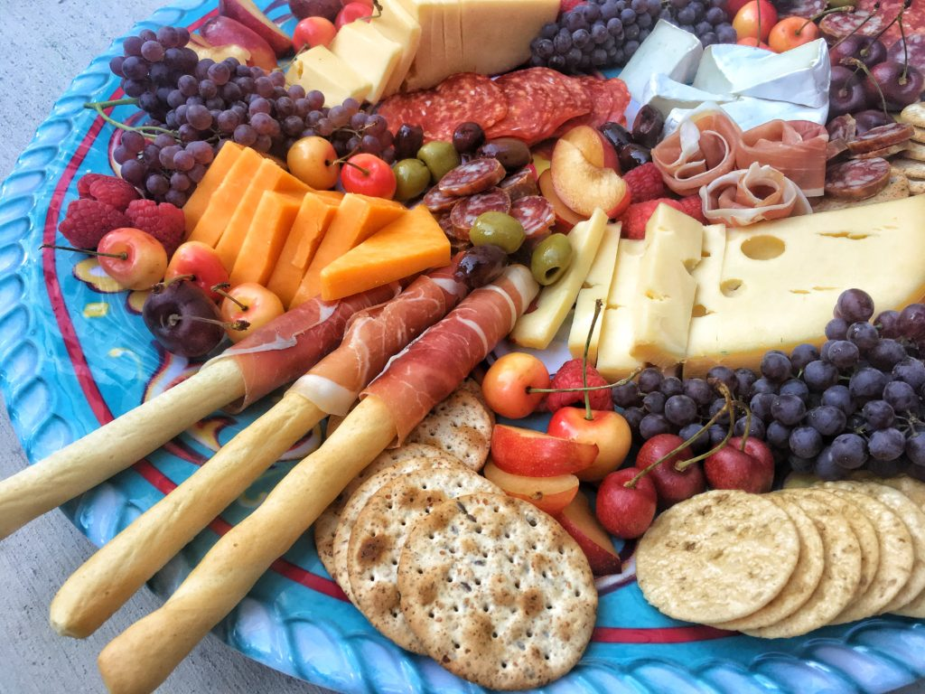 cheese board fruit meat